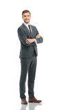 Full body of young handsome business man isolated on white backg Royalty Free Stock Image