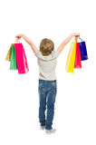 Full body of young shopping girl from behind Royalty Free Stock Photography
