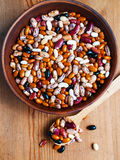 Full bowl of different haricot beans Stock Image
