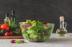 Full bowl of fresh green salad close up Stock Photo