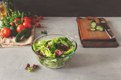 Full bowl of fresh green salad Royalty Free Stock Photography