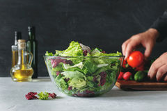 Full bowl of fresh salad Stock Photography