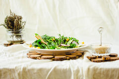 Full bowl of fresh salad with crispy crackers. Summer food and d Stock Image