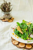 Full bowl of fresh salad with crispy crackers. Summer food and d Stock Photography