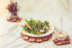 Full bowl of fresh salad with crispy crackers. Summer food and d Royalty Free Stock Image