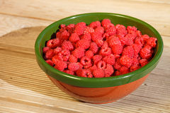 Full bowl with raspberries Stock Photos