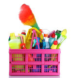 Full box of cleaning supplies and gloves Royalty Free Stock Photo