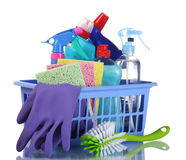 Full box of cleaning supplies and gloves Stock Image