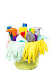 Full box of cleaning supplies and gloves Royalty Free Stock Photography