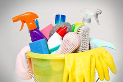 Full box of cleaning supplies and gloves Stock Photos