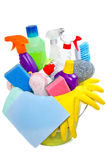 Full box of cleaning supplies Royalty Free Stock Images