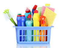 Full box of cleaning supplies and sponges Royalty Free Stock Photos