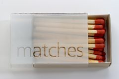 Full Box of Matches. Box full of matches ready to strike Royalty Free Stock Photo