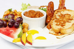 Full breakfast with eggs bacon beans royalty free stock photos