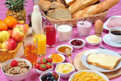 Full breakfast with  juice and jam Stock Photo