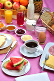 Full breakfast with   juice and jam Stock Photos