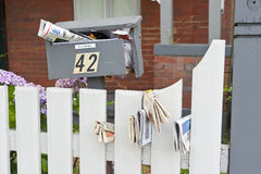Full Broken Mailbox Junk Mail Royalty Free Stock Images