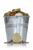 Full bucket of coins Royalty Free Stock Photo