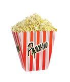 Full bucket of popcorn isolated Stock Photography