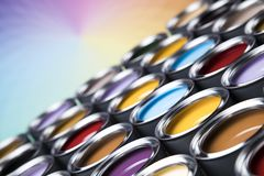 Colorful paint cans set. Full Buckets of rainbow colored oil paint royalty free stock photo