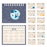 Full calendar for wall or desk year 2018. Business english calendar for desk on 2018 year. Set of the 12-month isolated pages with image on the cover. Week Stock Photo