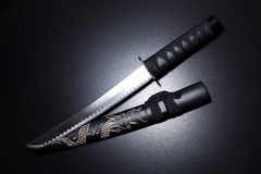 Traditional samurai sword. Full-called plane chopped complex body dark light pattern edge, one of the world's three blade. Divided into too knife based on the Stock Images