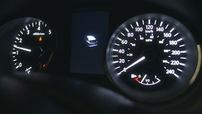 Full car dashboard panels with engine starting sound. stock footage