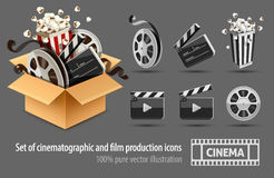 Full cardboard box filled cinema and filmmaking. Equipment cinefilms. Black white icons set. Director`s firecracker, disk with reel,  on background. Vector Royalty Free Stock Photography