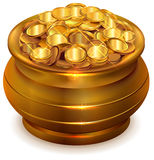 Full ceramic pot with gold coins Royalty Free Stock Images