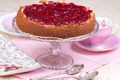 Full cherry cheesecake Royalty Free Stock Image
