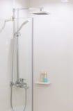 Full chrome shower head. In modern bathroom Stock Image
