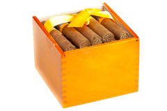 Full cigar box from wood Stock Photo
