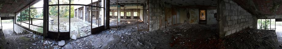 Full circle panorama of abandoned hotel Stock Photo