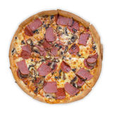 Full circle pizza top view Royalty Free Stock Photography