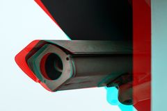 Full circuit CCTV camera. Full circuit or closed circuit CCTV camera with digital glitch effect for outdoor surveillance and private property protection stock images