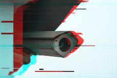 Full circuit CCTV camera. Full circuit or closed circuit CCTV camera with digital glitch effect for outdoor surveillance and private property protection royalty free stock photography