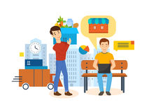 Full cirkulering för produktförvärv: beställning betalning, spårning, leverans, granskningar stock illustrationer