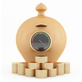 Full clay piggy-bank and coins Royalty Free Stock Photos