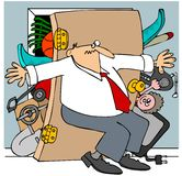 Full closet. This illustration depicts a man trying to hold back the door to an overstuffed closet Royalty Free Stock Photo