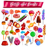 Full collection of different colorful candy and toffee chocolate Royalty Free Stock Photo