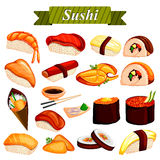 Full collection of different variety of Sushi roll from Japanese cuisine Stock Images