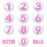 Full collection of icons balls with numbers. Royalty Free Stock Image