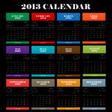 Full color 2013 year calendar. Vector illustration Royalty Free Stock Images