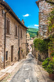 Full color beautiful streets in Umbria, Italy Stock Photos
