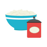 Full color bowl with mixture and salt container Royalty Free Stock Images