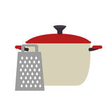 Full color cooking pot with grater Royalty Free Stock Photography