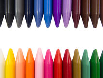 Full color crayon head to head white strip. Arrangement Royalty Free Stock Images
