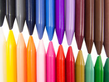 Full color crayon left right diagonal. Arrangement Royalty Free Stock Photography