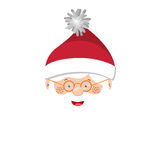 Full color with head santa claus with glasses. Vector illustration Stock Images