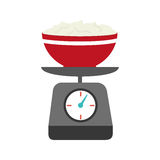 Full color kitchen weight scale with bowl and mixture Royalty Free Stock Image